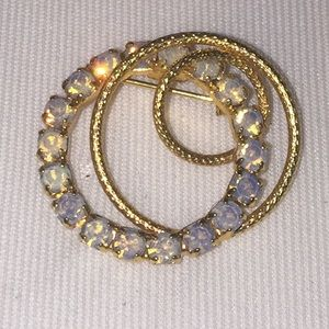 Vintage Opalite Gold Tone Circle Brooch